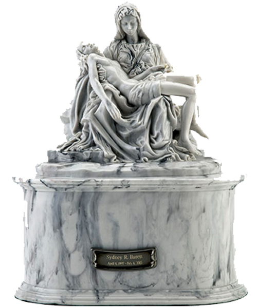 Pieta Mary and Jesus Christ after crucifixion marble sculpture memorial cremation urn.
