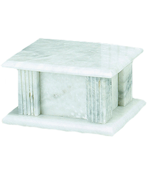 White Grain marble rectangle cremation urn for ashes.