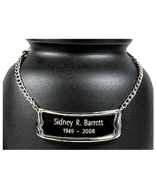 Pet urn medallion for personalization of cremation urn for ashes.