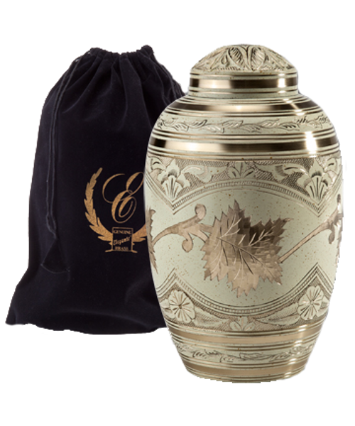 Cream wash etched leaf cremation urn for ashes.