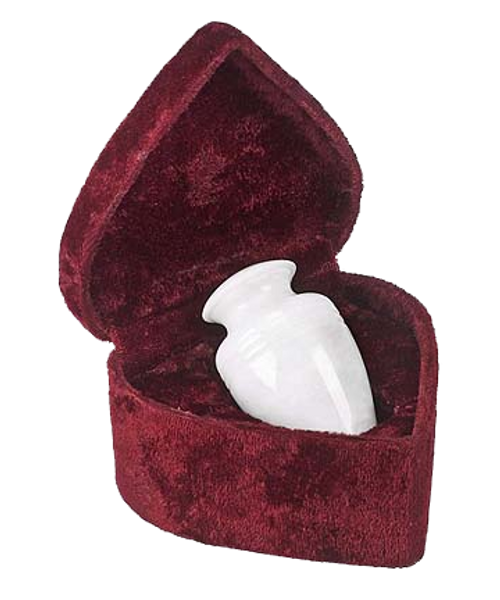 White marble keepsake token cremation urn for ashes.