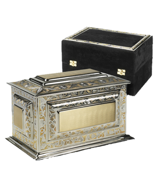 Solid brass Renaissance adult size cremation urn for ashes includes matching velvet display case