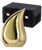 Brushed brass finish teardrop cremation urn for ashes adult size.