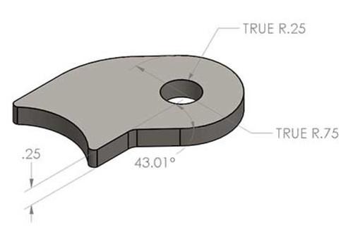 Curved shock tab, Pair
