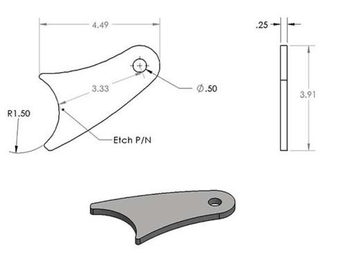 Long curved shock tab Pair