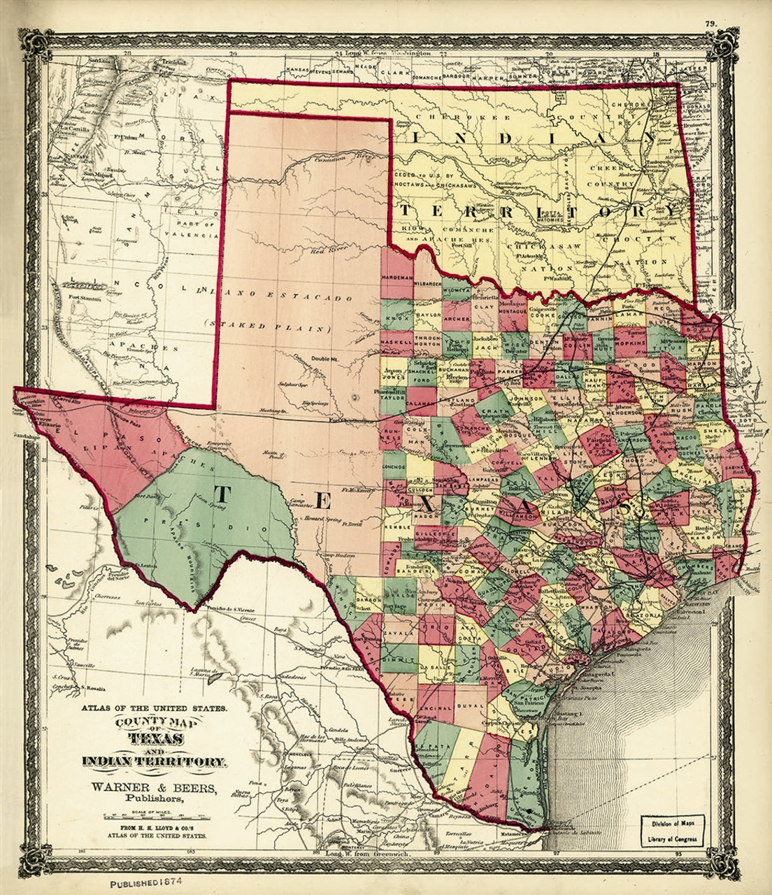 1874 County Map of Texas and Indian Territory on indians iowa map, indians new york map, indians in tennessee, indians in north carolina, indians utah map, indians of central texas, indians in texas history, indians in idaho, indians in washington state, indians in pennsylvania, indians ohio map, indians in rhode island, indians in south carolina, tonkawa indians map, indians in north dakota, indians in wisconsin,
