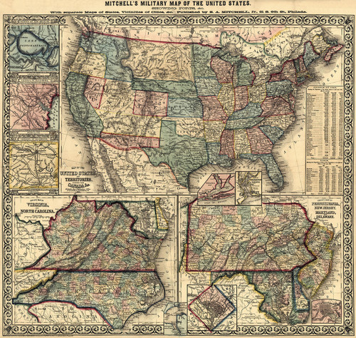 1861Mitcs Map of the United States | American Giclee Gallery on