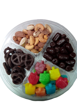 8 INCH CHOCOLATE, NUT & CANDY PLATTER