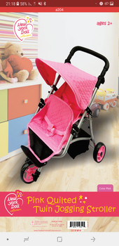 NEW YORK  DOLL  PINK  QUILTED  TWIN  JOGGING STROLLER