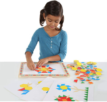 MELISSA & DOUG WOODEN MAGNETIC PATTERN BLOCK KIT