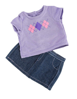 SPRINGFIELD COLLECTION T-SHIRT & JEAN SKIRT FOR 18 INCH DOLL