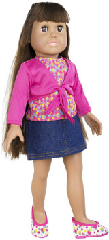 THE SPRINGFIELD COLLECTION DENIM SKIRT OUTFIT, PINK SHIRT, AND POLKA DOT SHOES