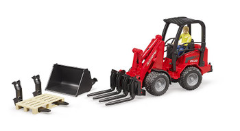 BRUDER RED FRONTLOADER TRACTOR WITH MAN