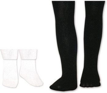 """SPRINGFIELD COLLECTION BLACK TIGHTS AND WHITE SOCKS FOR 18"""" DOLL"""
