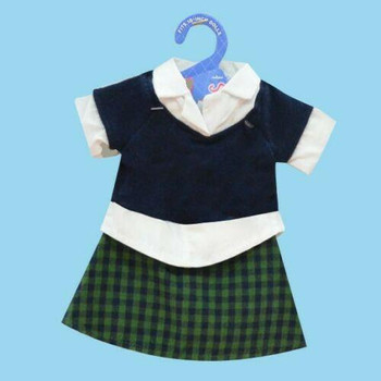 "Doll Clothes 18"" Skirt Green Blue Plaid Top White Navy Springfield"