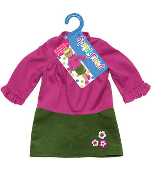 """SPRINGFIELD Doll Clothes 18"""" Skirt Corduroy Green Top Pink Embroidered Flowers"""