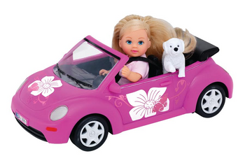 EVI LOVE DOLL PINK CONVERTIBLE BEETLE CAR