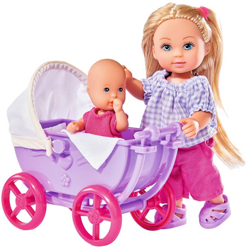 SIMBA EVI LOVE DOLL BABY AND STROLLER (COLORS VARY)
