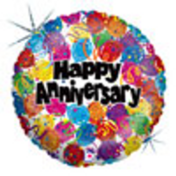 18 INCH HELIUM HAPPY ANNIVERSARY BALLOON (STYLES VARY)