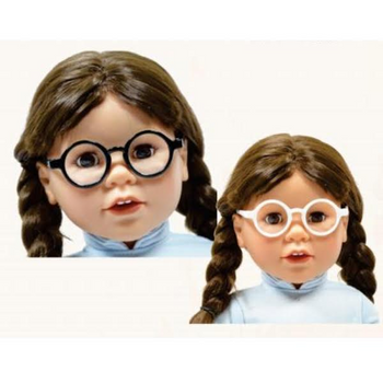 """SET OF 2 ROUND BLACK AND WHITE DOLL GLASSES FOR 18"""" DOLL"""