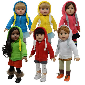 """THE NEW YORK DOLL HOODIE SWEATER FOR 18"""" DOLL (COLORS AND STYLES VARY)"""