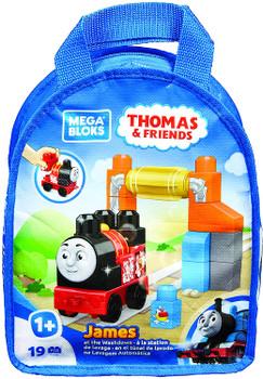 """THOMAS & FRIENDS MEGA BLOKS """"JAMES AT THE WASHDOWN"""" OR """"THOMAS AT THE STATION"""" 19 PCS (STYLES VARY)"""