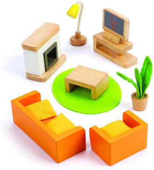 HAPE FAMILY ROOM- WOODEN DOLLHOUSE ACCESSORIES