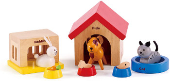 HAPE FAMILY PETS- WOODEN DOLLHOUSE ACCESSORIES