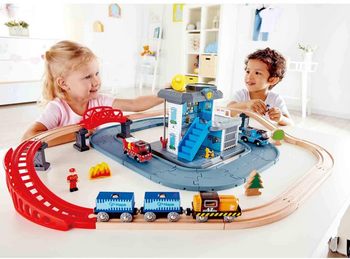 HAPE EMERGENCY SERVICES HQ WOODEN TRAIN SET