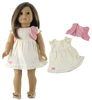 18 INCH WHITE DOLL DRESS WITH PINK SHRUG  (DOLL NOT INCLUDED)