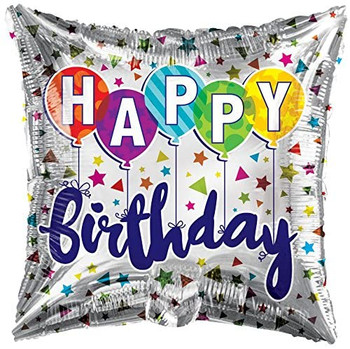 18 INCH HELIUM BALLOON HAPPY BIRTHDAY SQUARE (STYLES VARY)