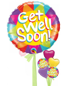 18 INCH HELIUM BALLOON GET WELL (STYLES VARY)