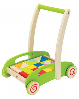 HAPE BLOCK AND ROLL CART WOODEN PUSH AND PULL WALKER TOY