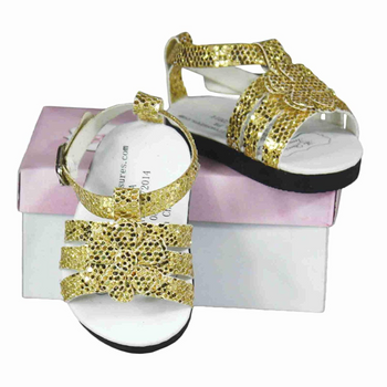 "GOLD SANDALS FOR 18"" DOLL (STYLES VARY)"