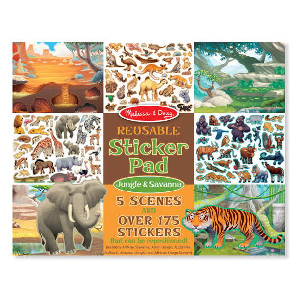 MELISSA & DOUG REUSABLE STICKER PAD: JUNGLE & SAVANNA