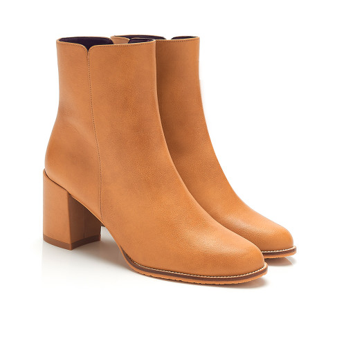 Jade Camel Faux Leather Vegan Ankle Boots