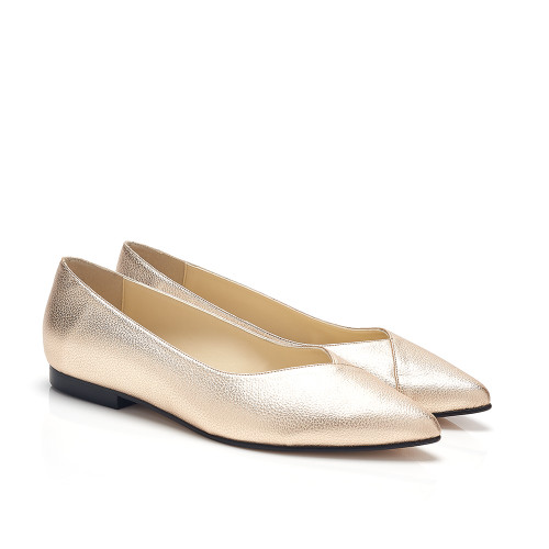 Bridgette Gold Faux Leather V Cut Flat Vegan Shoes
