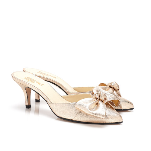 Venus Gold Faux Leather Bow Vegan Mules