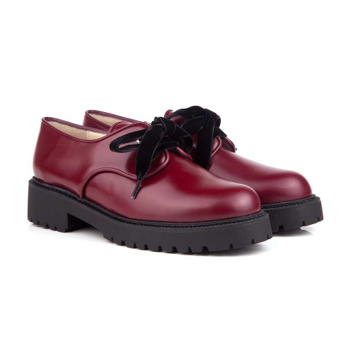 Martha Burgundy Lace-Up Vegan Shoes