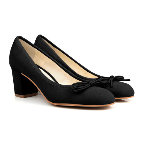 Pearl Black Suede Bow Vegan Court Shoes