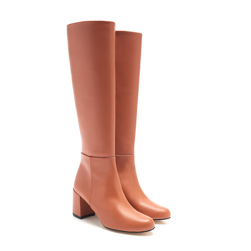 Mia Cognac Faux Leather Vegan Knee High Boots