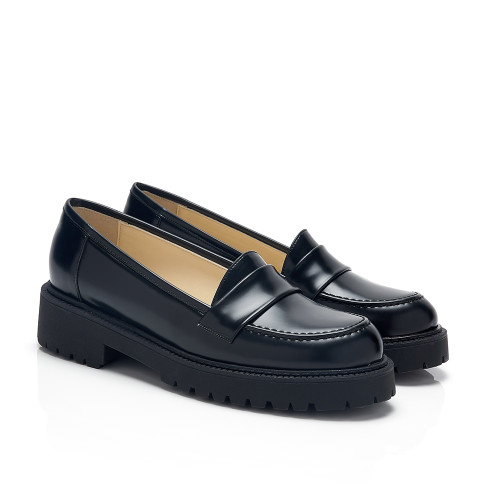 Shirley Black Faux Leather Flatform Vegan Loafers
