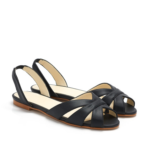 Lolly Black Faux Leather Flat Slingback Vegan Sandals