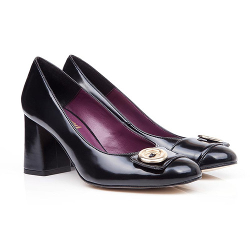 Lolly Black Faux Leather Button Block Heels