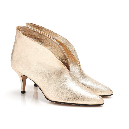 Jezabel Gold Faux Leather Vegan Ankle Boots