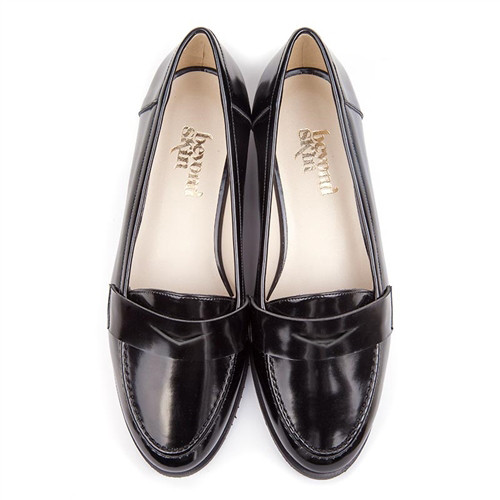 Kate Black Faux Leather Vegan Loafers