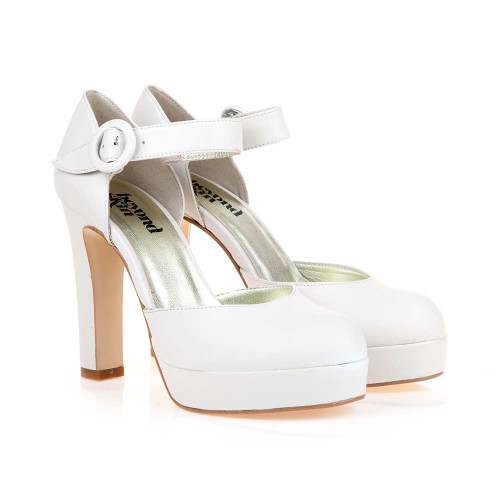 Penny B Cream Vegan High Heel Mary-Jane Platforms