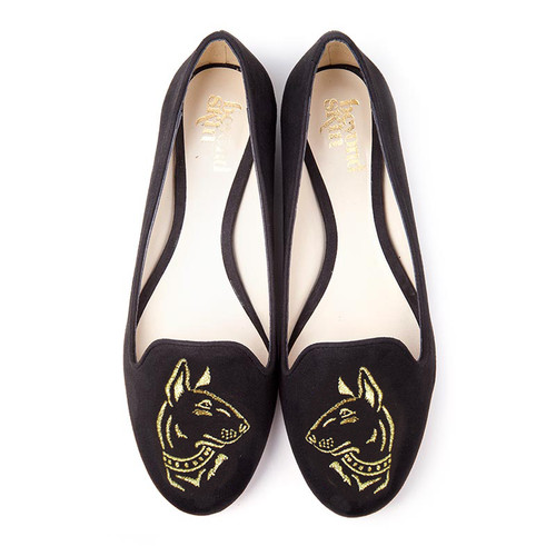Lupo Black Embroidered Flat Vegan Slippers - SOLD OUT