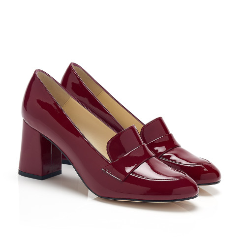 Cleo Burgundy Patent Faux Leather Block Heel Vegan Loafers