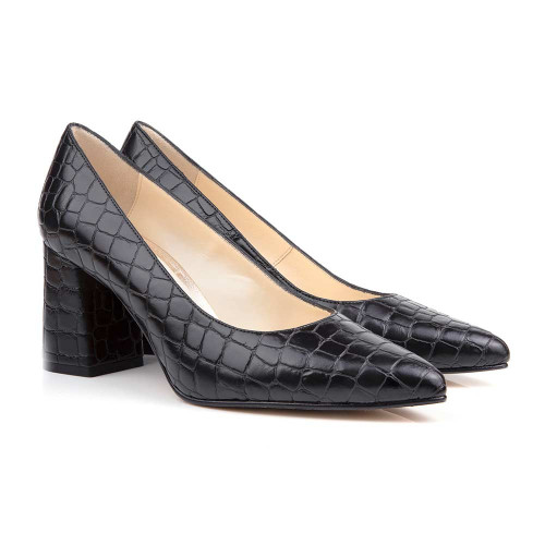 Sally Black Faux Croc Point Vegan Heels